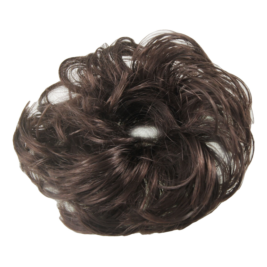 Unique Bargains Medium Dark Brown Faux Hair Wedding Elastic Band Curly Hairpiece Wig Bun