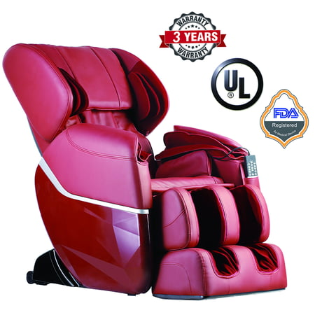 Zero Gravity Full Body Electric Shiatsu UL Approved Massage Chair Recliner with Built-In Heat Therapy and Foot Roller Air Massage System Stretch Vibrating for Home Office,Burgundy (Gravity Recliner Massage Chair)