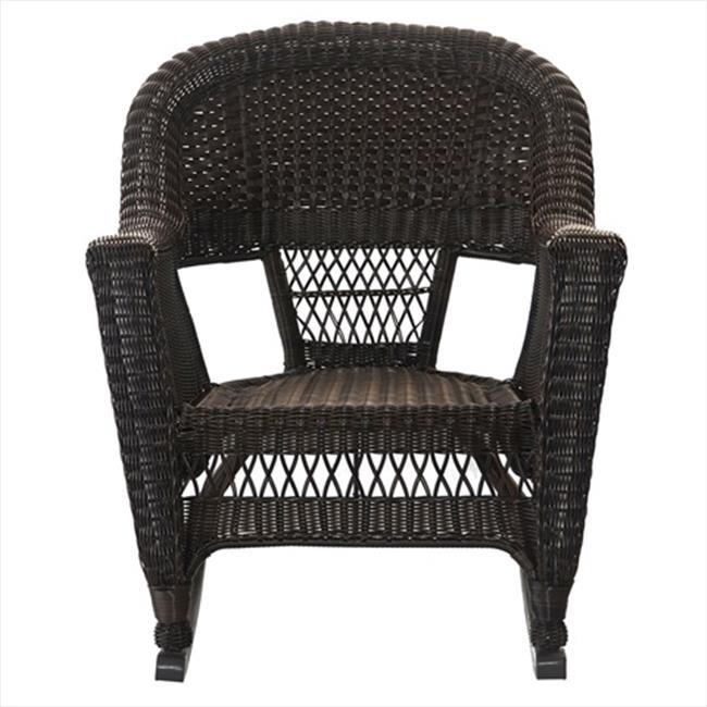 Jeco W00201R-A-2 Espresso Rocker Wicker Chair - Set 2
