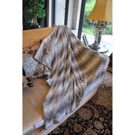 Tache Home Fashion Gray Luxury Rabbit Micro Fleece Faux Fur Throw