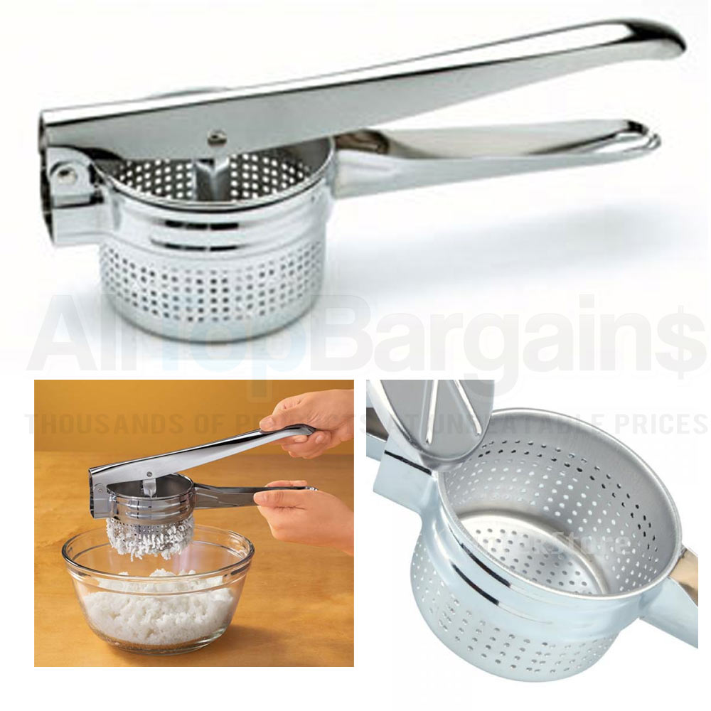 Stainless Steel Potato Masher Ricer Fruit Juicer Vegetable Press Chrome Plated !