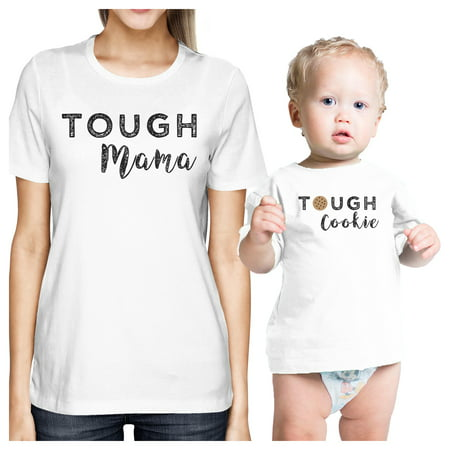 Tough Mama & Cookie White Funny Mom and Baby Matching Outfits - 70 Outfit