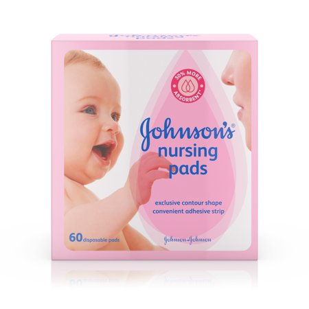 Contoured Disposable Breast Pads - Johnson's Disposable Nursing Pads with Natural Cotton, 60 ct