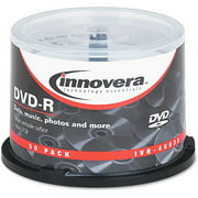 Innovera DVD-R Discs, 4.7GB, 16x, Spindle, White, 50/Pack