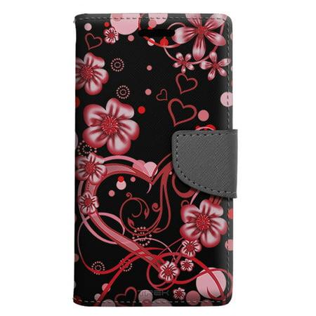 (Apple iPhone SE Wallet Case - Sketch Hearts Red on Black Case)