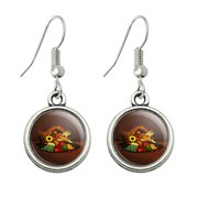 Cornucopia Thanksgiving Holiday Autumn Fall Novelty Dangling Drop Charm Earrings