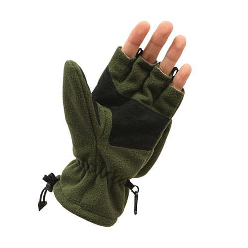 Fleece Sniper Fingerless Gloves/Mittons, Olive Drab, Large
