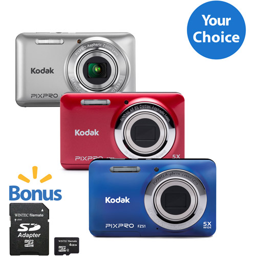 Your Choice Kodak FZ53 Digital Camera with 16.15 Megapixels and 5x Optical Zoom with Bonus 8GB SDHC Card