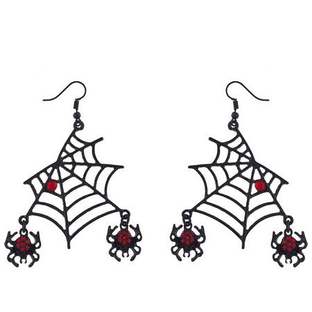 Accessorize Halloween Earrings (Lux Accessories Black Spider Web DanglingRed Rhinestone Halloween)
