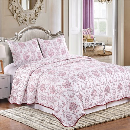 Cozy Line Home Fashions White Pink Floral Leaves Medallion Printed Reversible Quilt Bedding Set 100% Microfiber Bedspread, Colverlet - 1 Quilt and 2 Pillow Shams (Flower, Queen- 3 Piece) Pink Floral Set