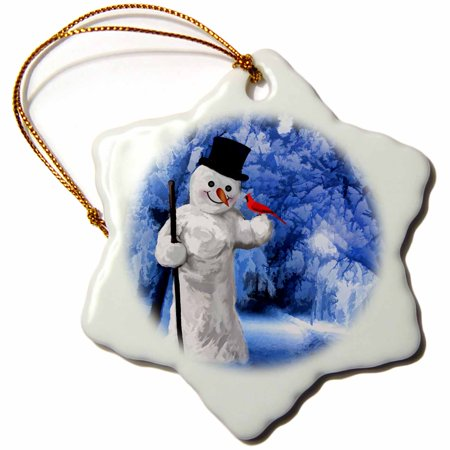 3dRose Snowman with a Red Cardinal Bird in a Wintry Blue Scene Painting - Snowflake Ornament, 3-inch](Snowflake Scenes)