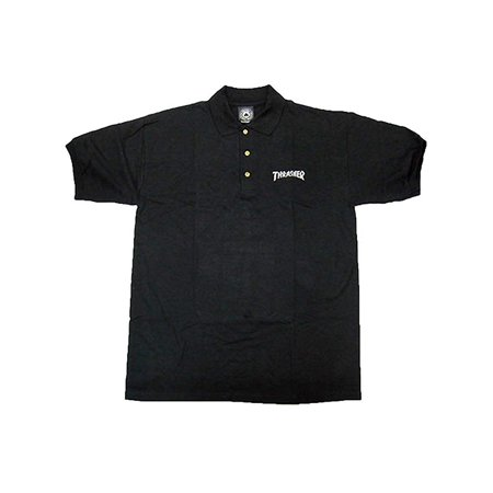Embroidered Polo Shirt (Black) (Small) By Thrasher](Thrasher Halloween)