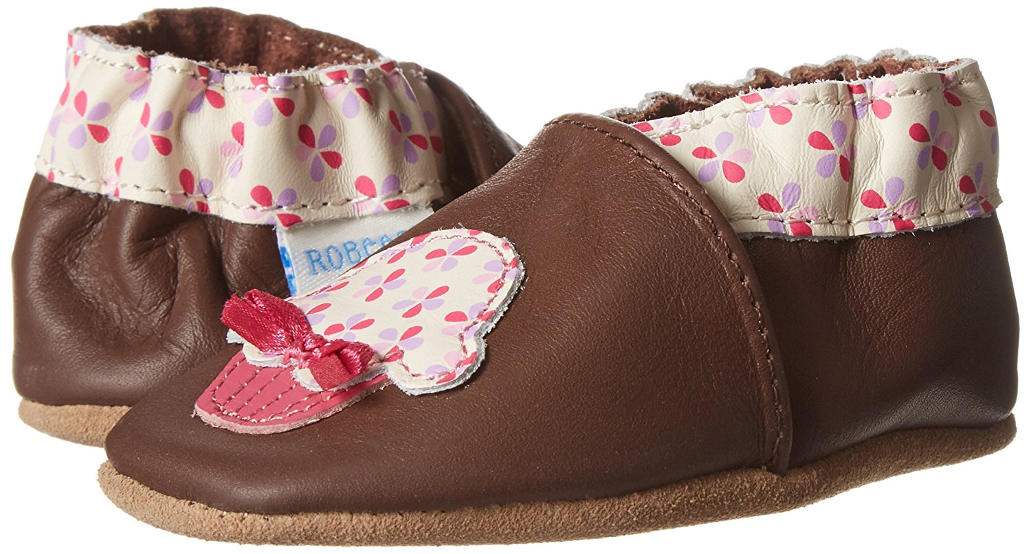 Robeez Cupcake Baby Girl's Brown Leather Walking Shoes by Robeez