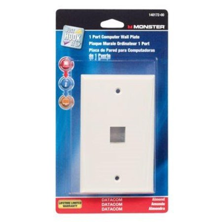 Multi-Media Keystone Wall Plate 1 Port Almond Monster Cable