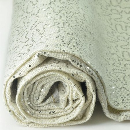 BalsaCircle Silver 54 inch x 4 yards Sequins on Burlap Fabric Bolt - Sewing Crafts Draping Decorations Supplies ()