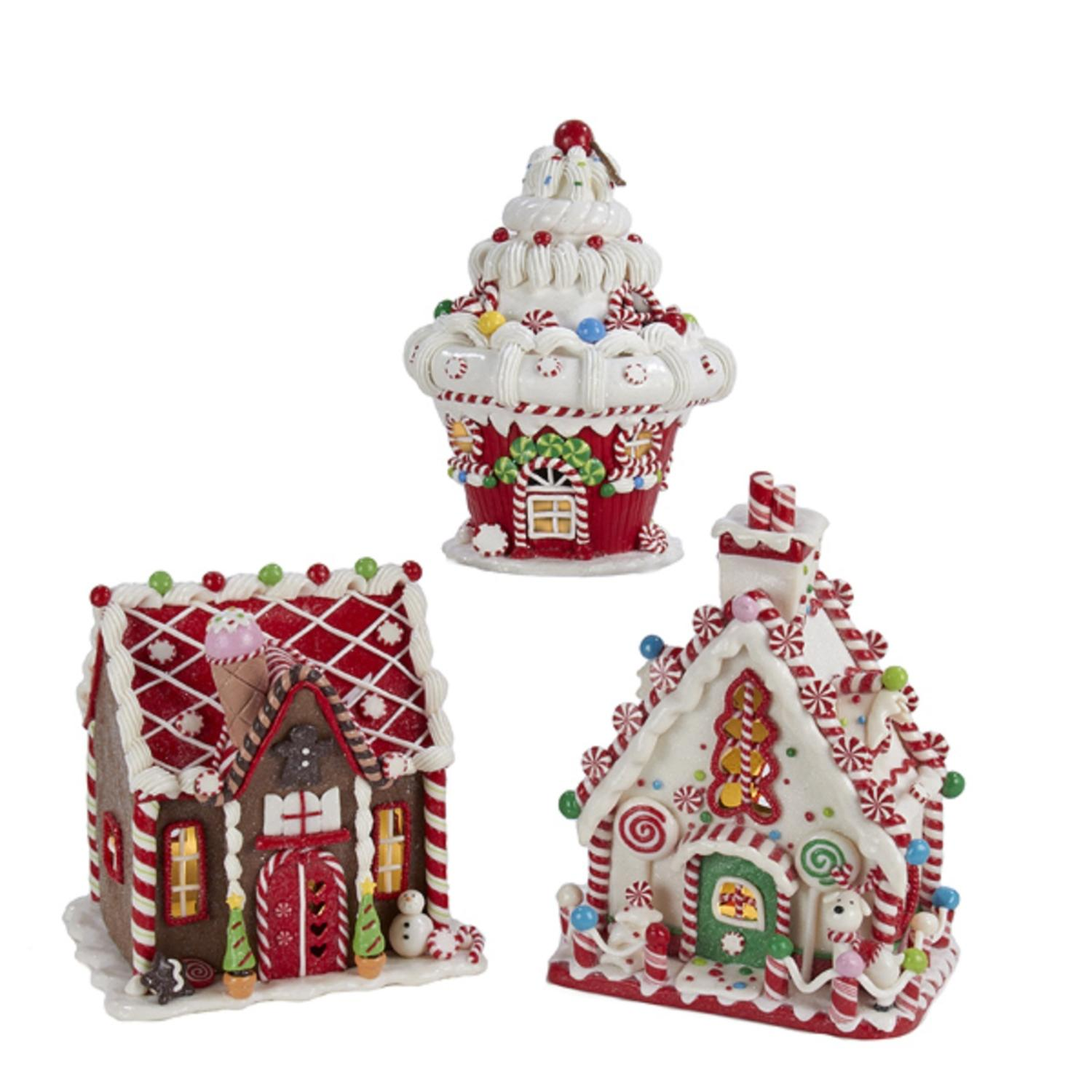 Set of 3 Battery Operated Claydough LED Gingerbread House Tablepiece Decorations 8""