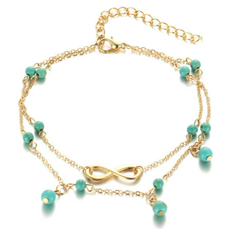 - Womens Boho Style Infinity Double Anklet with Blue Beads