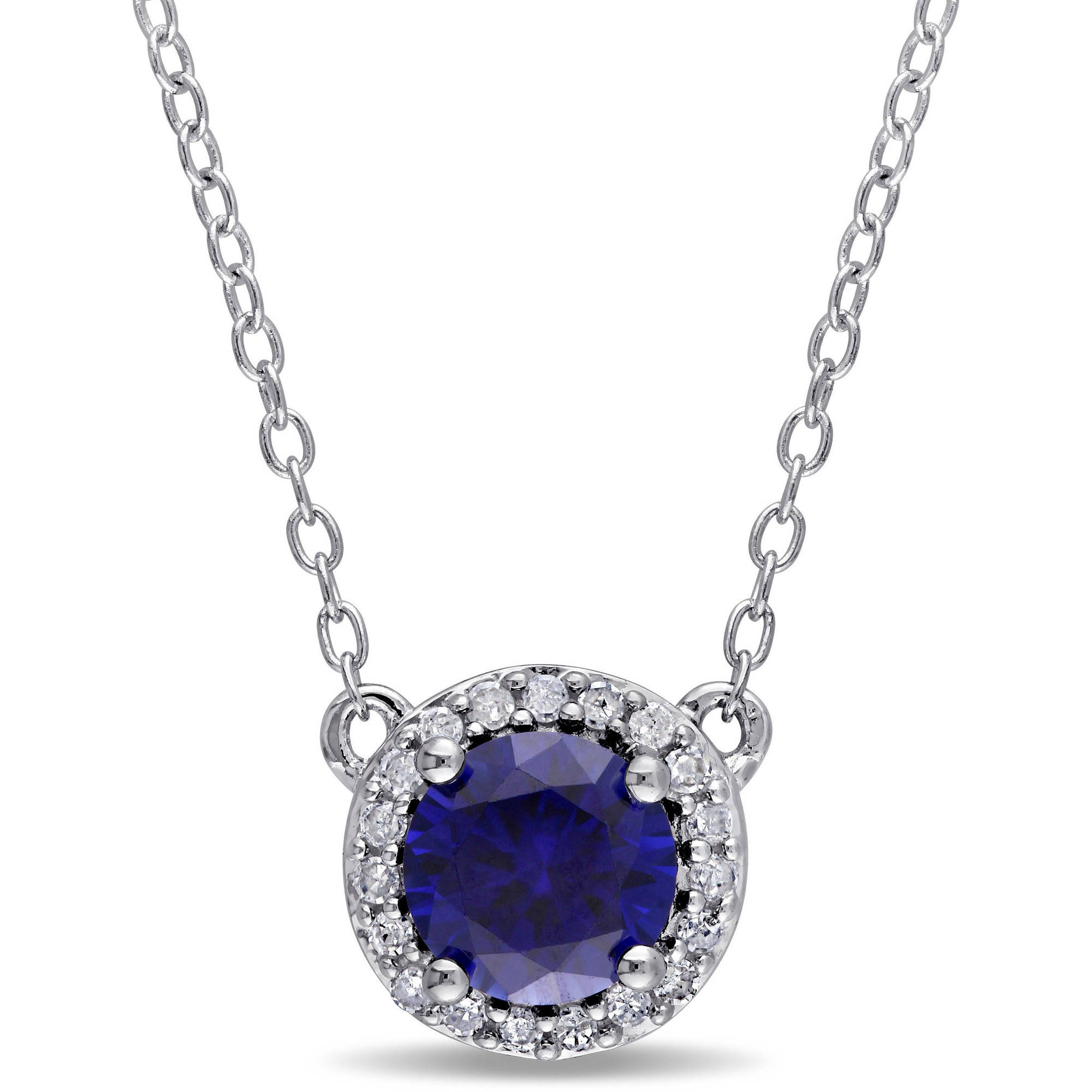 "Tangelo 1 Carat T.G.W. Created Blue Sapphire and Diamond-Accent Sterling Silver Halo Necklace, 16"" by Tangelo"