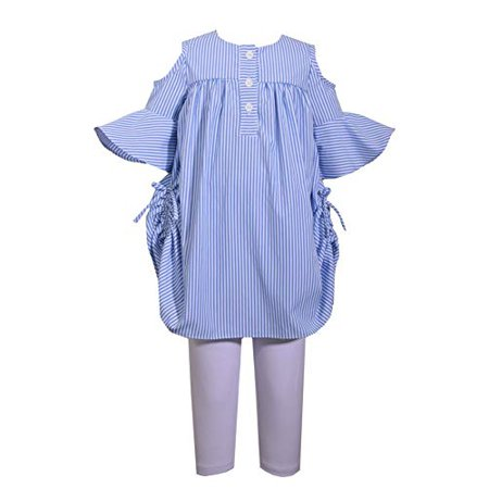 Bonnie Jean Little Girls Blue and White Striped Cold Shoulder Tunic Top with Matching Capri Pants Set (2T)