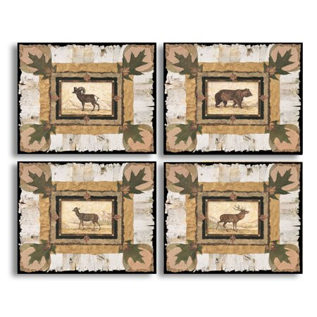 Rusic Bark and Leaf Bordered Set Big Horn Ram, Spotted Doe, Majestic Elk, and Magnificent Bear; Four 10x8in Poster