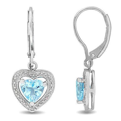 Amour Sky Blue Topaz Lever Back Earrings
