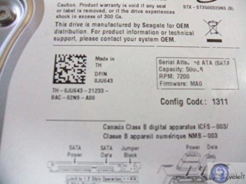 SEAGATE 0JU643 500GB 7.2K 3.5 SATA 3G 32MB HDD DELL VERSION Dell Seagate Barracuda ES 2 ST3500320NS 500GB 7200 RPM 3 5... by Seagate