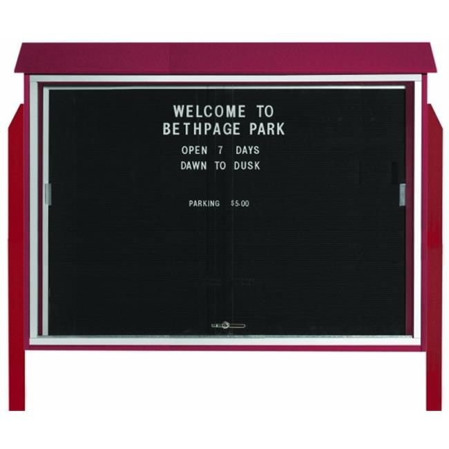 Aarco Products  Inc. PLDS4052LDPP-7 Rosewood Sliding Door Plastic Lumber Message Center with Letter Board - Posts Included - 40 in.H x 52 in.W