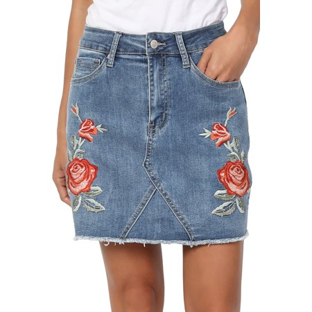 TheMogan Women's Floral Rose Embroidered Denim Frayed Hem Mini Jean Skirt - Floral Embroidery Denim Skirt
