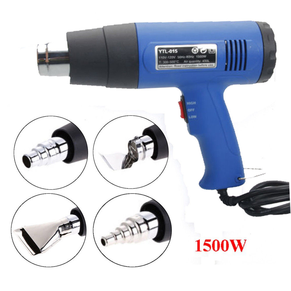 Ktaxon Electric Blower Dual Temperature 110V 1500W Adjustable Digital Display Heat Gun, Hot Air Shrink Gun with Nozzles Power Heater,Stainless Steel Concentrator Tips Accessories, Blue