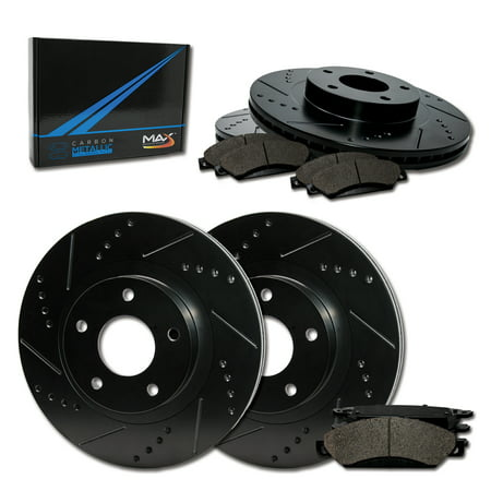 Max Brakes Front & Rear Elite Brake Kit [ E-Coated Slotted Drilled Rotors + Metallic Pads ] TA032383 | Fits: 1997 97 1998 98 Ford Mustang Base/GT Models - image 8 de 8