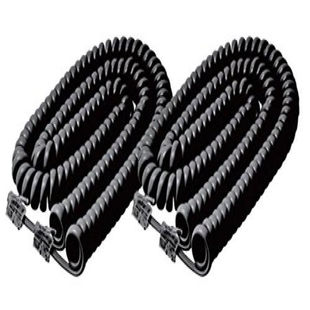 Headset Coil (iMBAPrice (2 Pack) Black Telephone headset cable - 12 Feet Heavy Duty Coiled Telephone Handset)