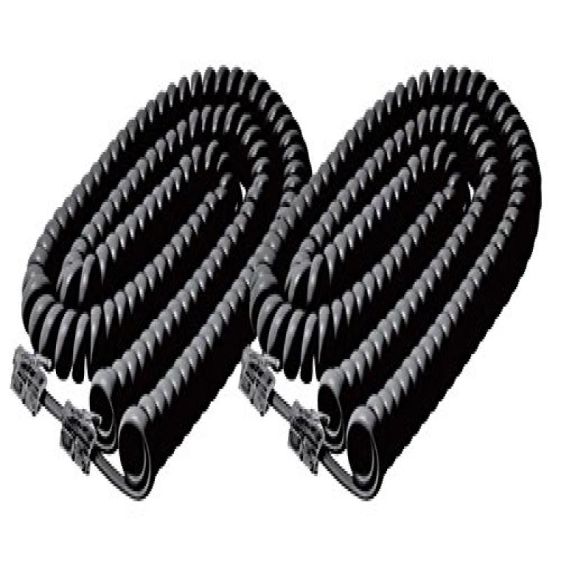 iMBAPrice (2 Pack) Black Telephone headset cable - 12 Feet Heavy Duty Coiled Telephone Handset Cord