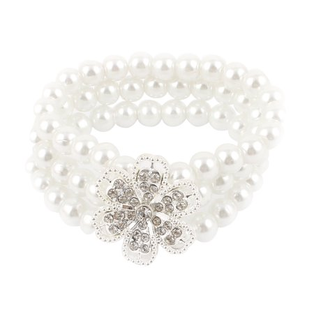 Unique Bargains Women 3 Rows White Faux Pearl Rhinestone Inlaid Elastic String Bracelet Bangle 3 Row Stretch Rhinestone Bracelet