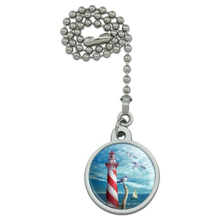 Lighthouse Seashore Ocean Beach Seagulls Sailboat Ceiling Fan and Light Pull (Sailboat Pull)