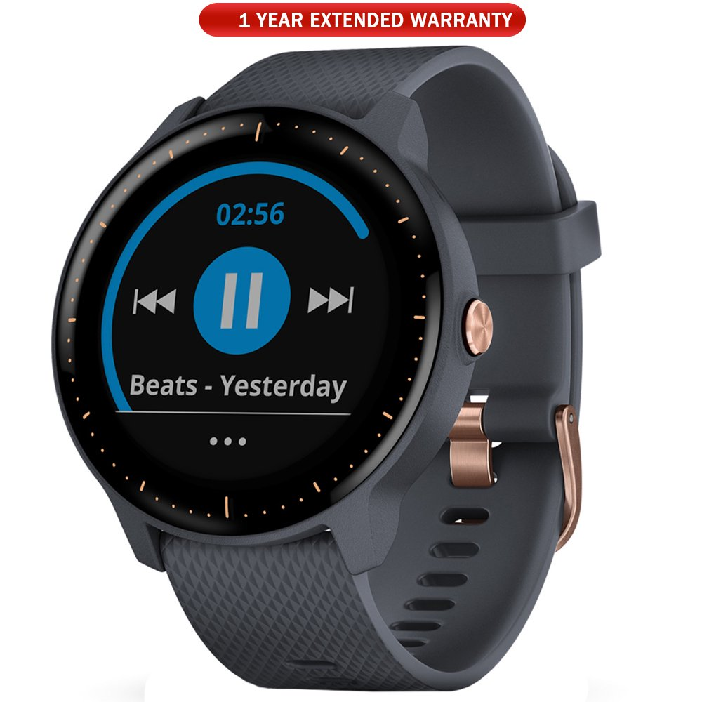 Garmin Vivoactive 3 Music GPS Smartwatch Granite Blue + Rose Gold (010-01985-31) with 1 Year Extended Warranty