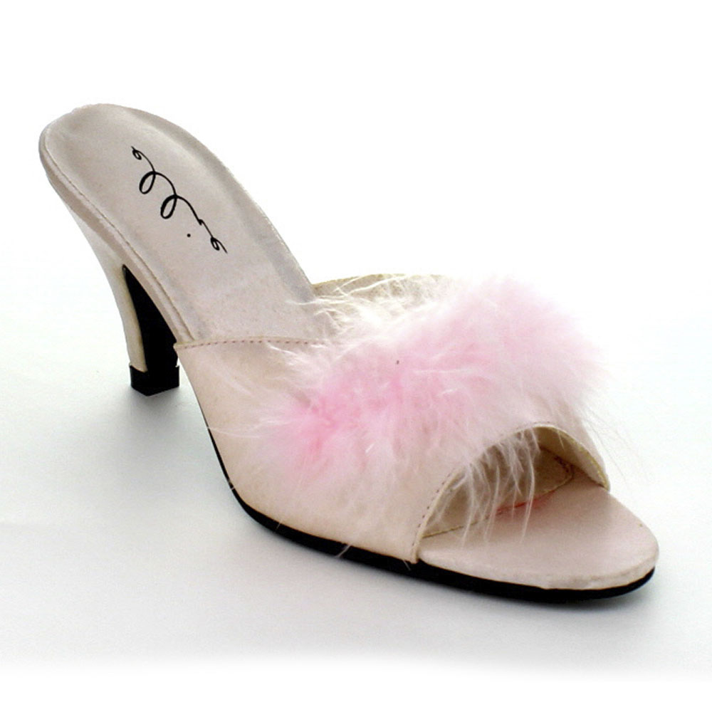 Phoebe 2.5/'/' Heel Satin Maribou Slippers by Ellie Shoes
