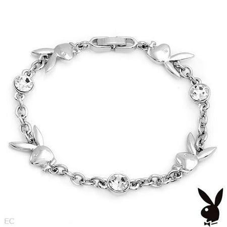 Playboy Bracelet Bunny Charms Swarovski Crystals Silver Plated Chain Link Logo (Food Bracelet Charms Silver)