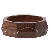 Sitara Collections Silver Metal Design Waves Carved Wood Bangle (India)