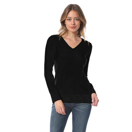 Red Snowflake Holiday Sweater - Made by Olivia Women's Soft Basic Classic Long Sleeve Knit Sweater Top Black M