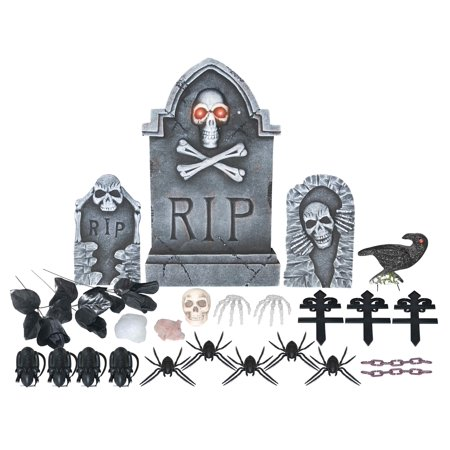 24PC LIGHTED GRAVE SET-SKULL & CROSS BONES Halloween Tombstone - Tombstone Quotes Halloween