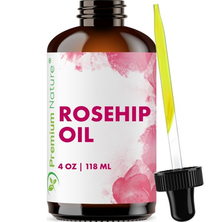 Organic Rosehip Seed EssentialOil - 4 oz Pure Cold Pressed Unrefined Rose Hip Serum for Face Hair Nails 100% Natural Skin Care MoisturizerScar Removal & Facial Acne Treatment Cold Pressed Rose Hip Seed