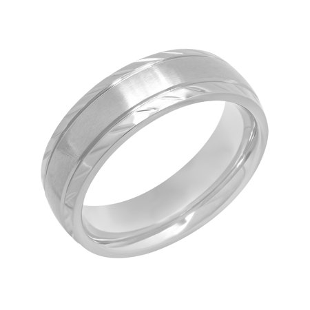 Stainless Steel Wave Ring - Men's Stainless Steel 7MM Satin Finish Wave Pattern Wedding Band/Ring