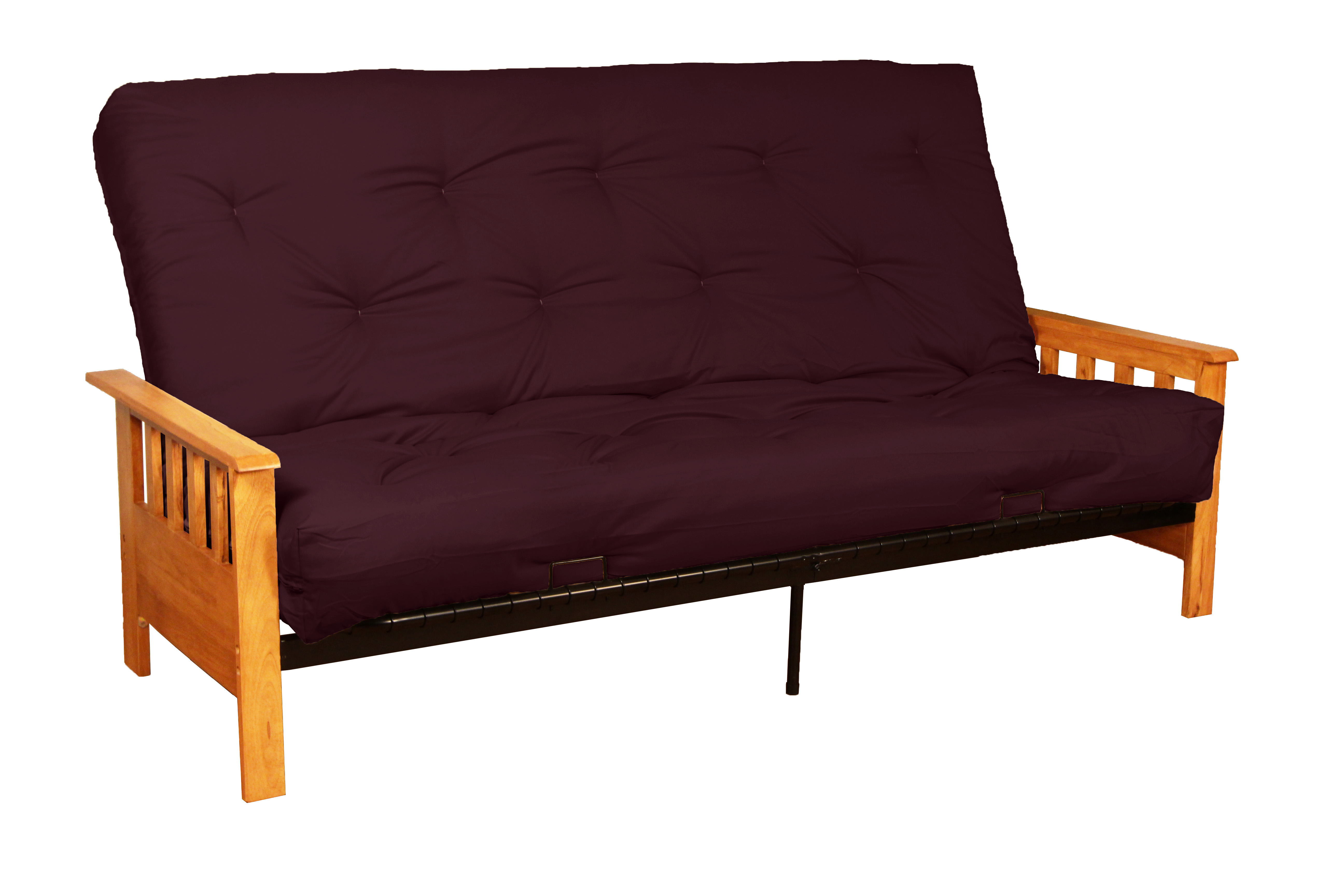 Arts U0026 Crafts 10 Inch Loft Inner Spring Futon Sofa Sleeper Bed, Queen Size,  Natural Arms, Twill Burgundy   Walmart.com