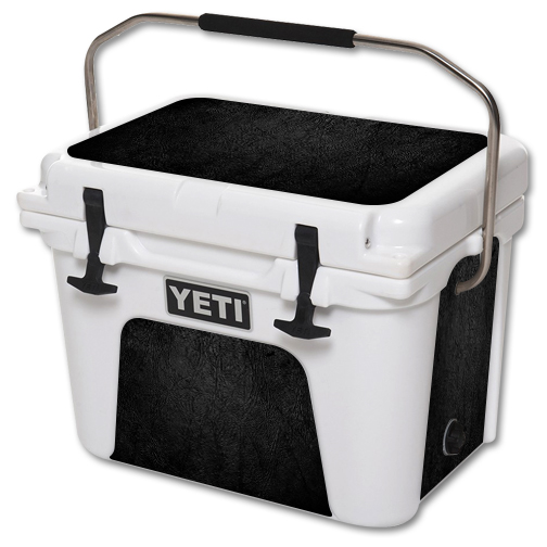 MightySkins Protective Vinyl Skin Decal for YETI Roadie 20 qt Cooler wrap cover sticker skins Black Leather