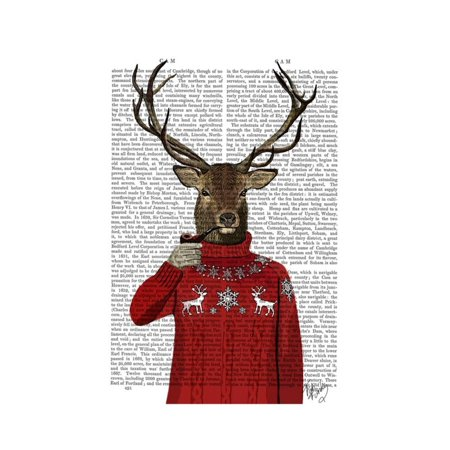 Deer in Ski Sweater Antler Hipster Animal Humor Winter Christmas Print Wall Art By Fab Funky