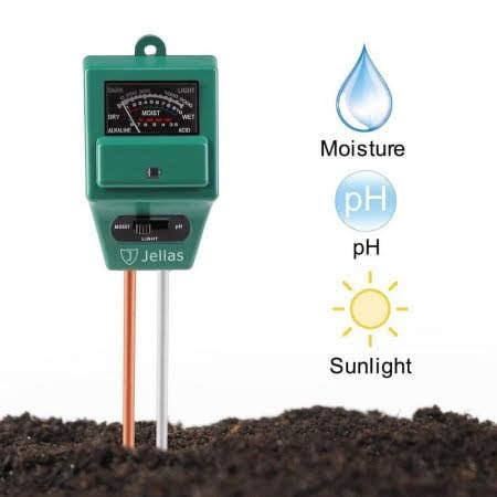 Soil pH Meter, Jellas 3-in-1 Moisture Sensor Meter / Sunlight / pH Soil Test Kits test function for Home and Garden, Plants, Farm, Indoor/Outdoor Use. (3-in-1 Soil pH Meter)