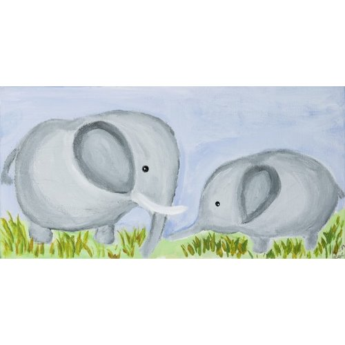 Judith Raye Paintings LLC Mommy and Baby Elephant by Judith Raye Painting Print