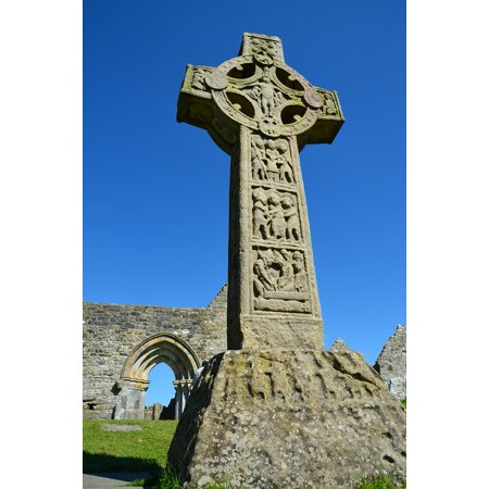 Peel-n-Stick Poster of Cemetery Cross Ireland Tombstone Grave High Cross Poster 24x16 Adhesive Sticker Poster Print