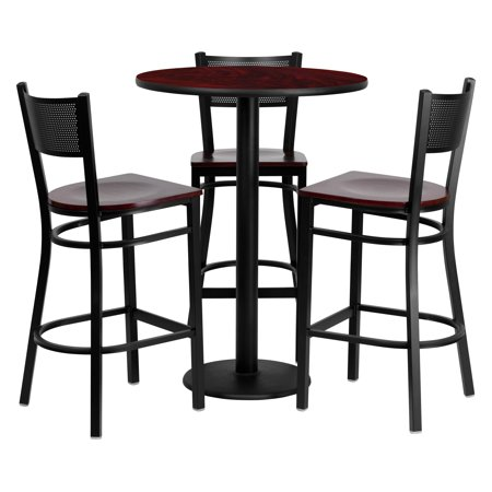 - Flash Furniture 30'' Round Mahogany Laminate Table Set with 3 Grid Back Metal Barstools, Mahogany Wood Seat
