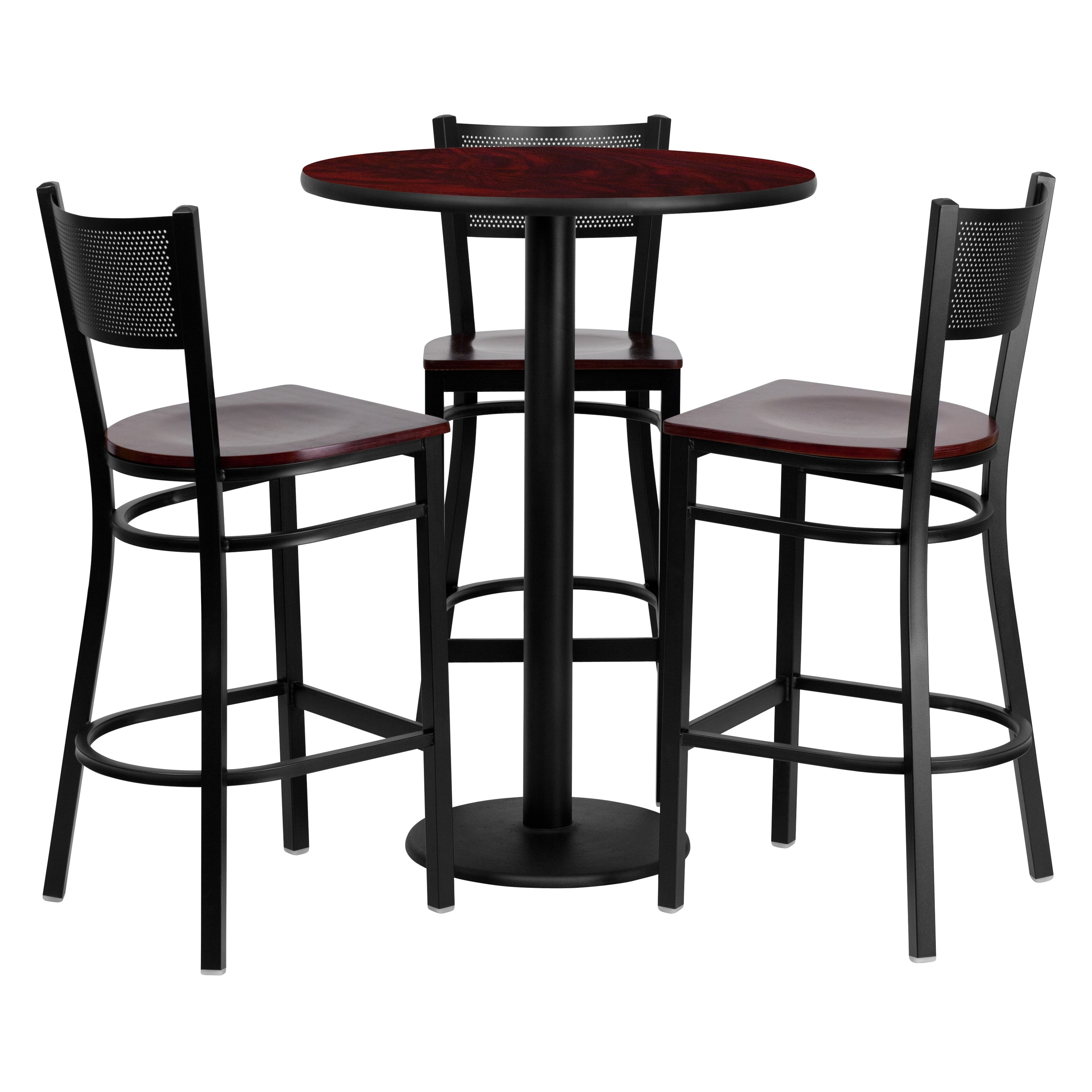 Flash Furniture 30'' Round Mahogany Laminate Table Set with 3 Grid Back Metal Barstools, Mahogany Wood Seat